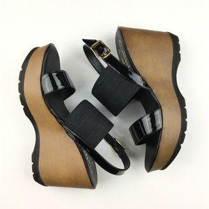 Callisto Women's Black & Brown Wedge Heels 8.5